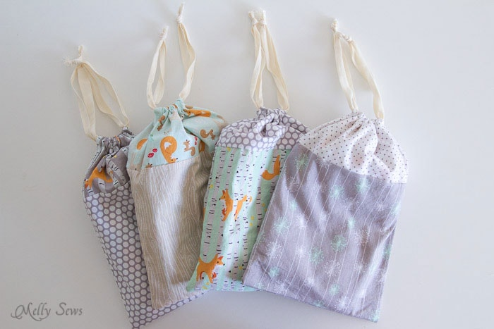 Put Pajamas in a drawstring bag - Melly Sews