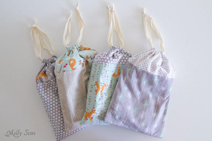 Put Pajamas in a drawstring bag - Melly Sews