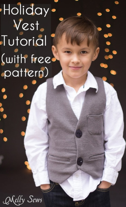 Sew a vest - Boys Holiday Vest with Free Pattern - Melly Sews