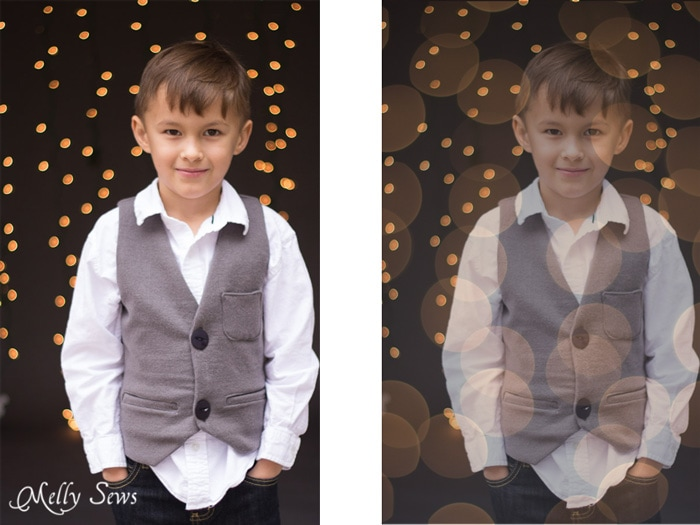 Add bokeh layer - How to get twinkle light bokeh for holiday photos - Melly Sews