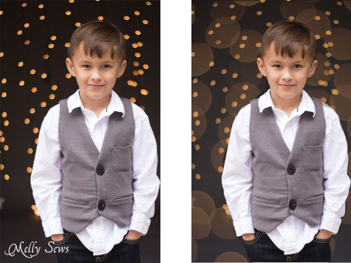 Before and after - How to get twinkle light bokeh for holiday photos - Melly Sews