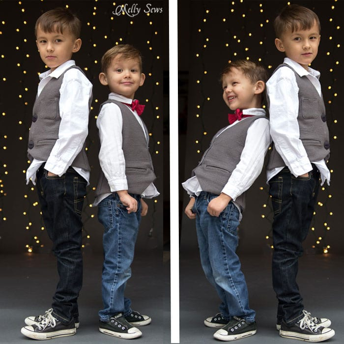 Cute little guys - Sew a vest - Boys Holiday Vest with Free Pattern - Melly Sews