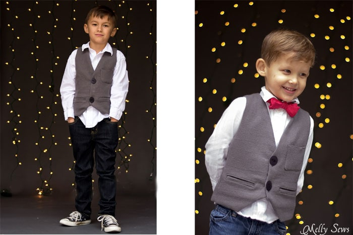 Dapper little dudes - Sew a vest - Boys Holiday Vest with Free Pattern - Melly Sews