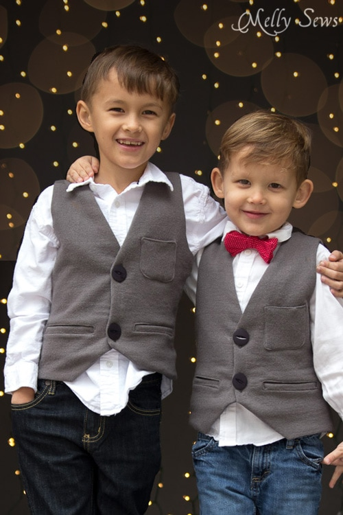 Brotherly love - Sew a vest - Boys Holiday Vest with Free Pattern - Melly Sews
