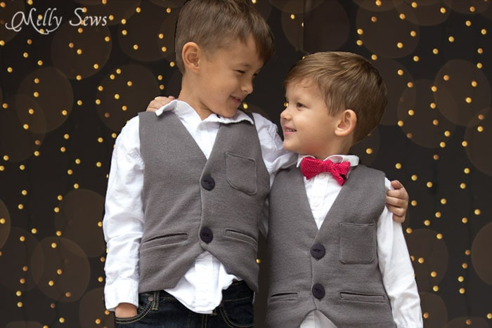 These are adorable! Sew a vest - Boys Holiday Vest with Free Pattern - Melly Sews