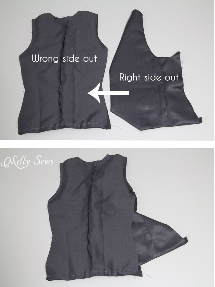 Step 8 - Sew a vest - Boys Holiday Vest with Free Pattern - Melly Sews