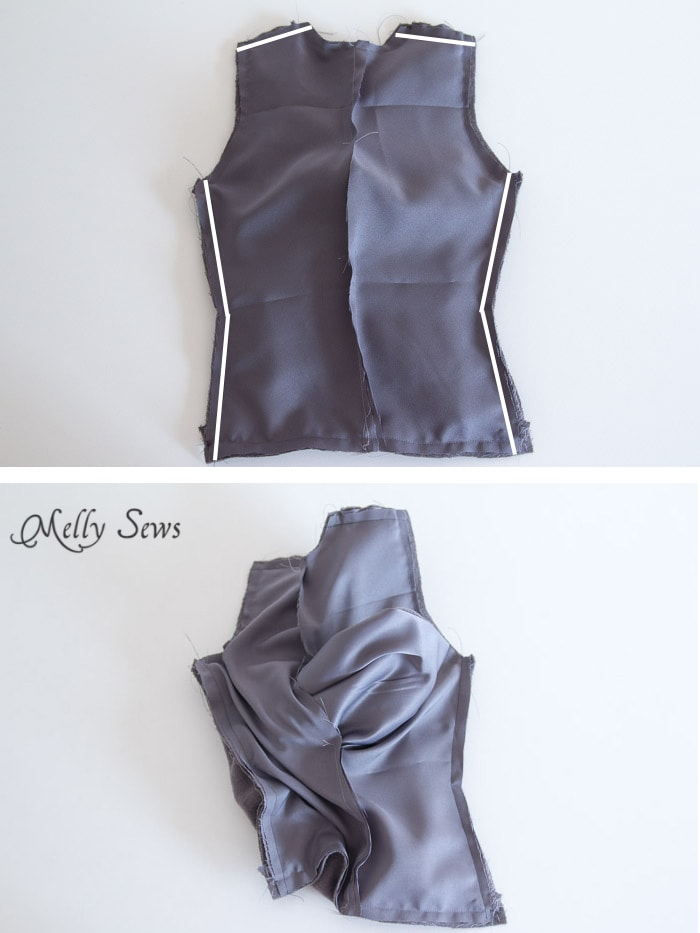 Step 9 - Sew a vest - Boys Holiday Vest with Free Pattern - Melly Sews