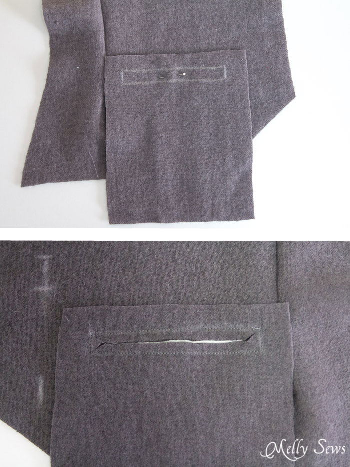 Step 3 - How to sew a welt pocket - Sew a vest - Boys Holiday Vest with Free Pattern - Melly Sews