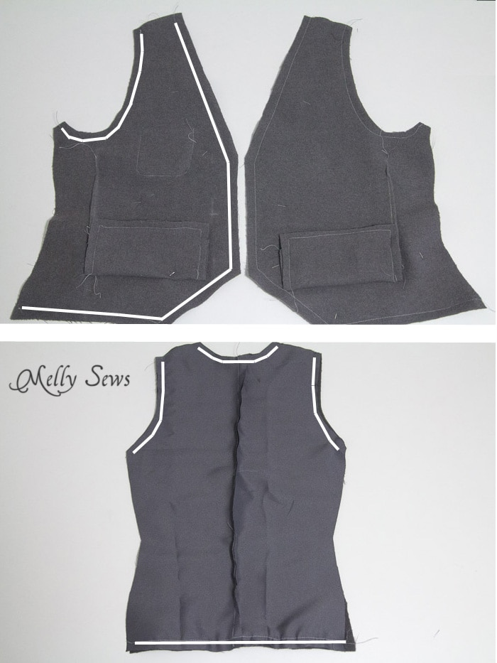 Step 7 - Sew a vest - Boys Holiday Vest with Free Pattern - Melly Sews