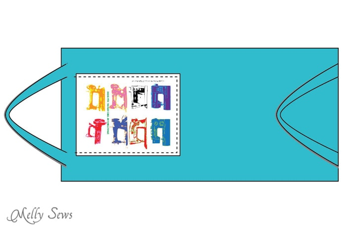 Step 4 - Sew a tote bag - an EASY project for beginners - cute FREE printable graphic to add - Melly Sews