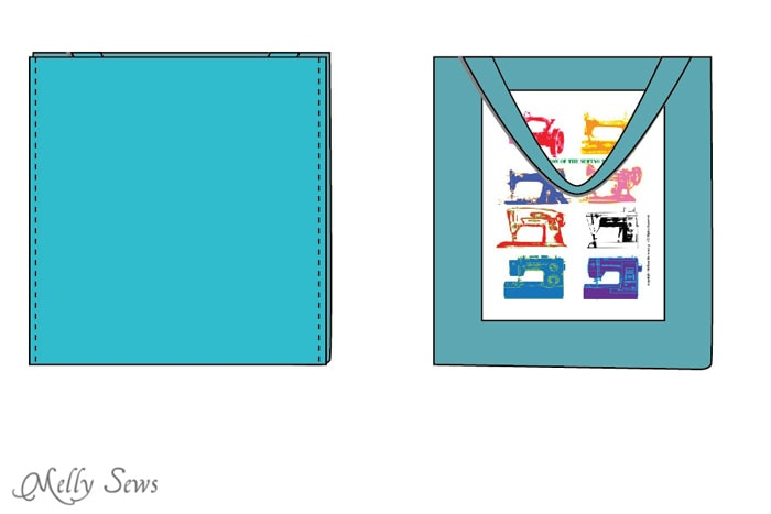 Step 6 - Sew a tote bag - an EASY project for beginners - cute FREE printable graphic to add - Melly Sews