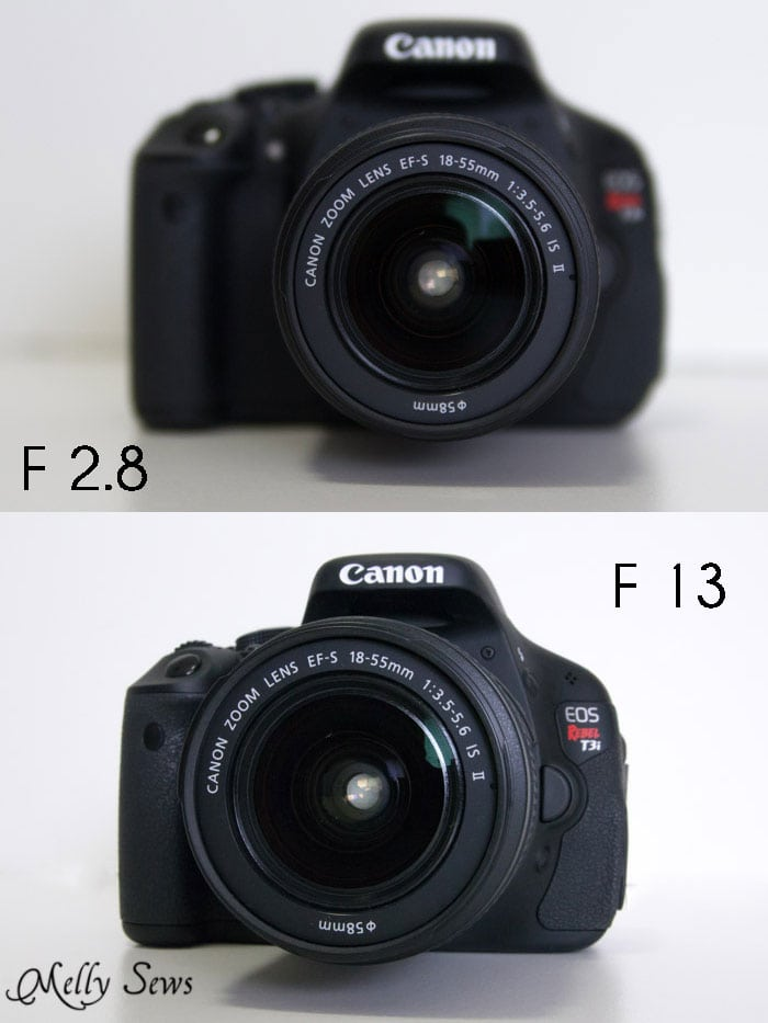 "Different f stops compared - Easy ""Cheater"" Manual Mode Camera Settings for Blog Photos - Melly Sews Tech Tips"