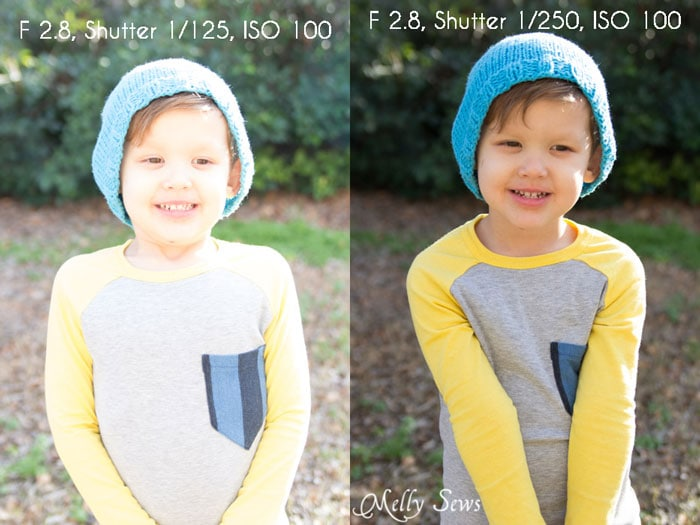 "Different shutter speeds compared - Easy ""Cheater"" Manual Mode Camera Settings for Blog Photos - Melly Sews Tech Tips"