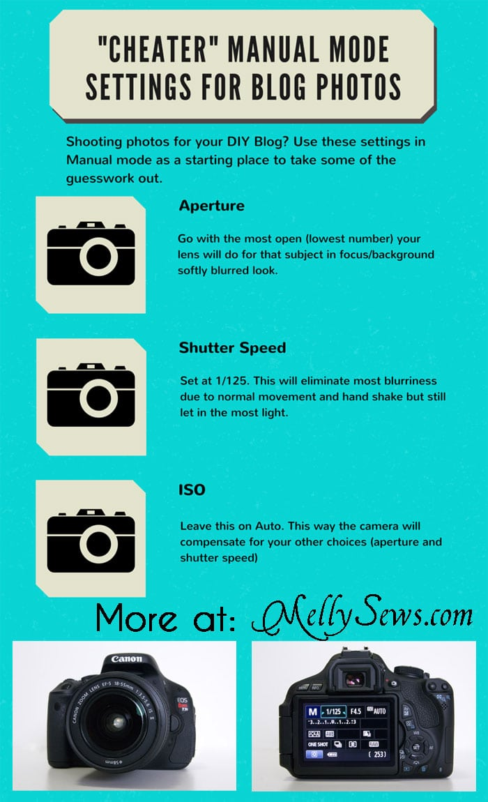 "Easy ""Cheater"" Manual Mode Camera Settings for Blog Photos - Melly Sews Tech Tips"