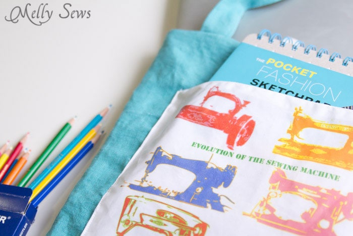 Sew a tote bag - an EASY project for beginners - cute FREE printable graphic to add - Melly Sews