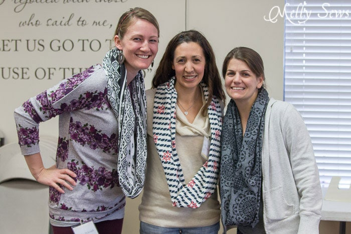 Showing off new scarves - How to sew an infinity scarf - Make an infinity scarf in just 3 steps! Perfect for a gifts or group craft projects - Melly Sews