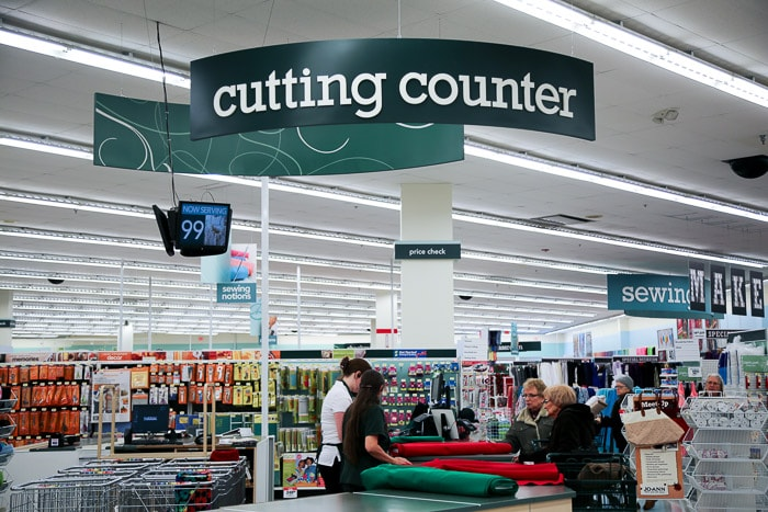 Cutting counter - How to shop for fabric - how to buy fabric - a beginner's guid to conquering the fabric store - Melly Sews
