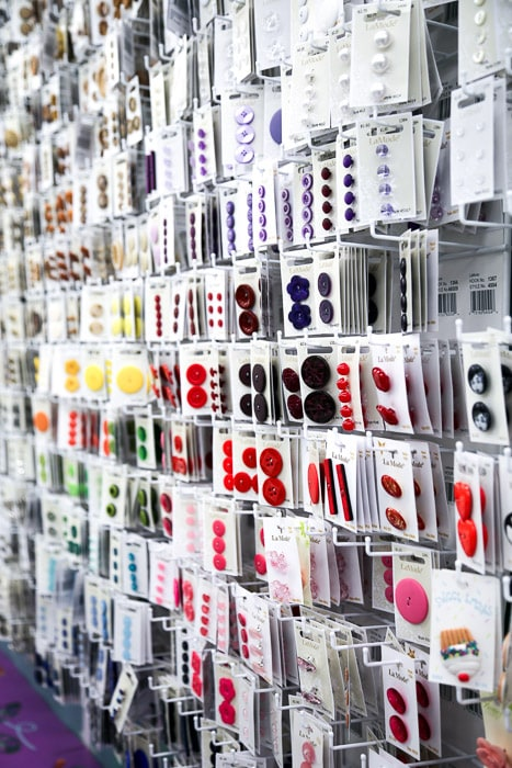 Buttons - How to shop for fabric - how to buy fabric - a beginner's guid to conquering the fabric store - Melly Sews