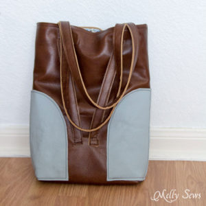 Sew a Leather Tote - Make a convertible leather tote bag that can be carried over the shoulder or backpack style - Melly Sews