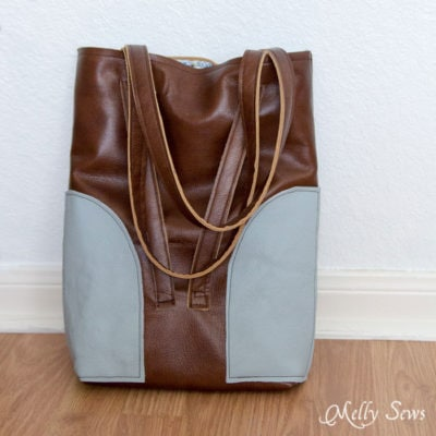 Leather Tote Bag with Convertible Strap