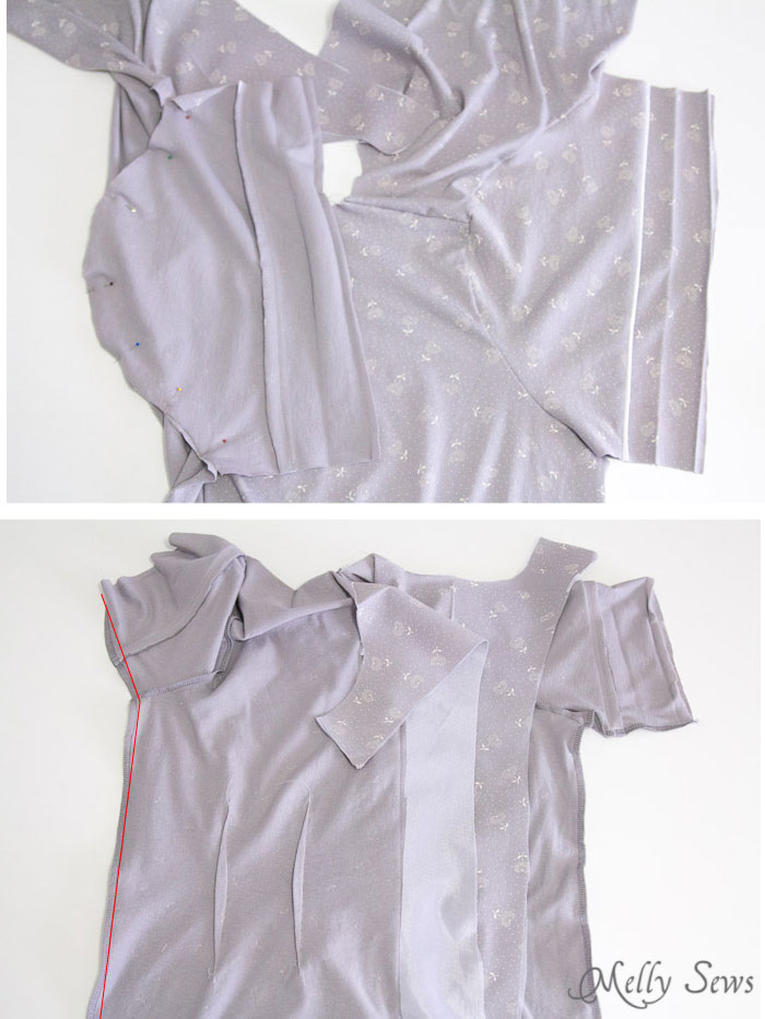 Step 3 - Sew a Ladies Pajama Top and shorts with FREE patterns (for a limited time) from Melly Sews
