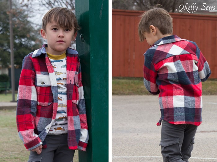 Back yoke cut on the bias - Bookworm Button Up shirt by Blank Slate Patterns - Sewing for Boys - Melly Sews