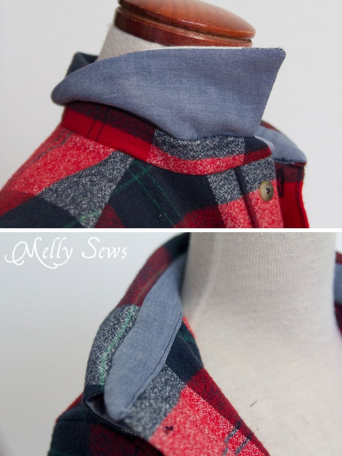 Use a thinner fabric to reduce bulk in collars when working with thick flannel -  Bookworm Button Up shirt by Blank Slate Patterns - Sewing for Boys - Melly Sews