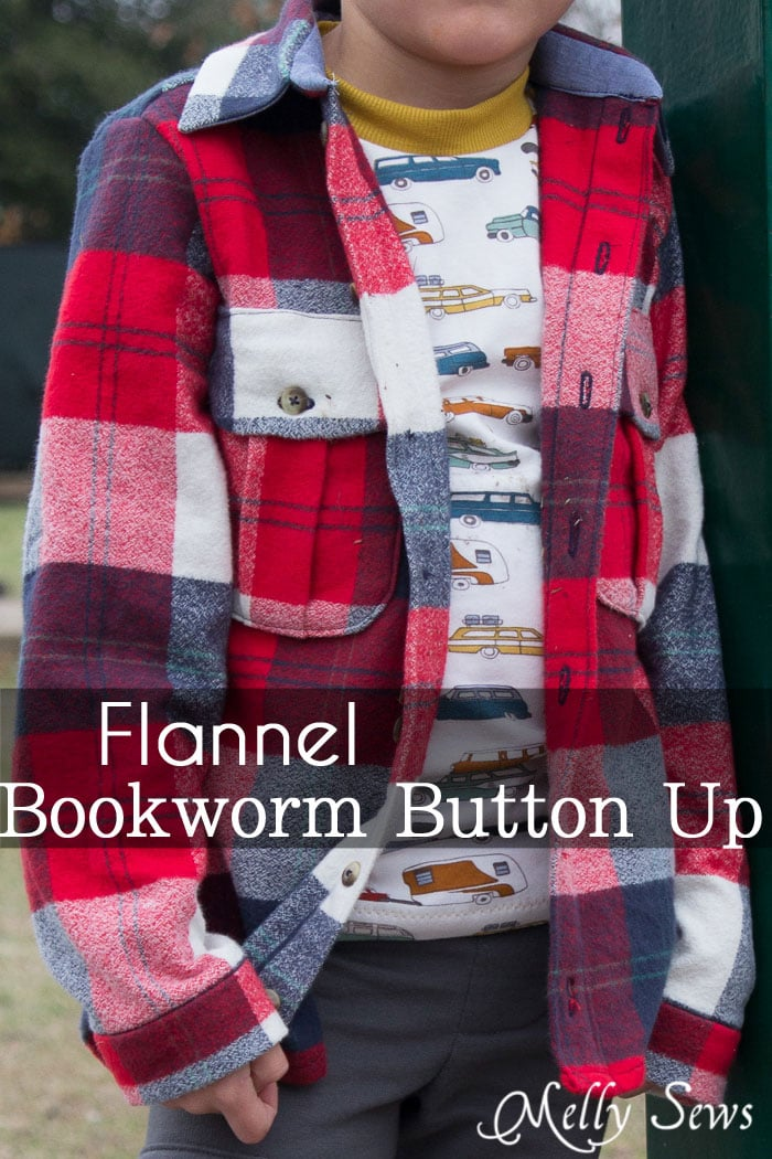 Bookworm Button Up shirt by Blank Slate Patterns - Sewing for Boys - Melly Sews