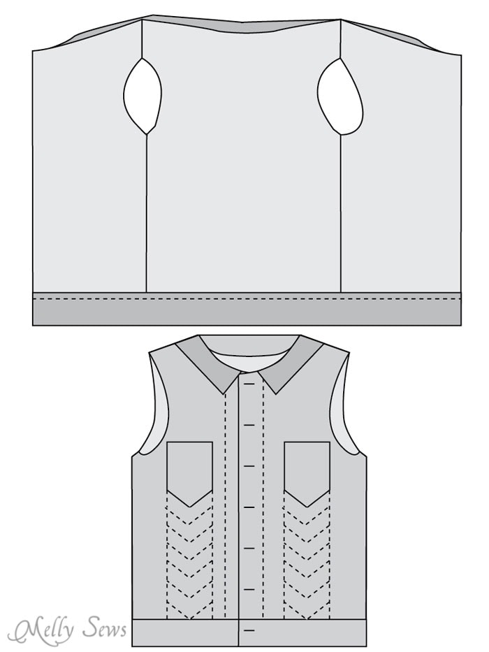Step 5 - Sew a boys vest with the FREE Punk Vest pattern - Melly Sews
