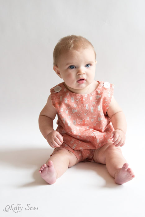 So cute! Baby boy romper pattern - FREE - with a VIDEO tutorial as well as pictures - Melly Sews