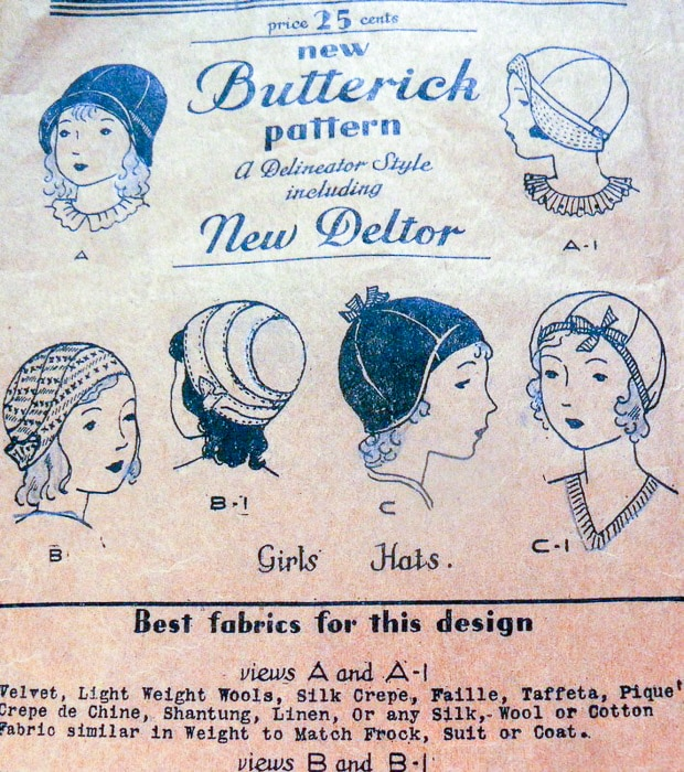 1920s Butterick New Deltor Cloche Hat Pattern - Most Expensive Sewing Patterns - Melly Sews