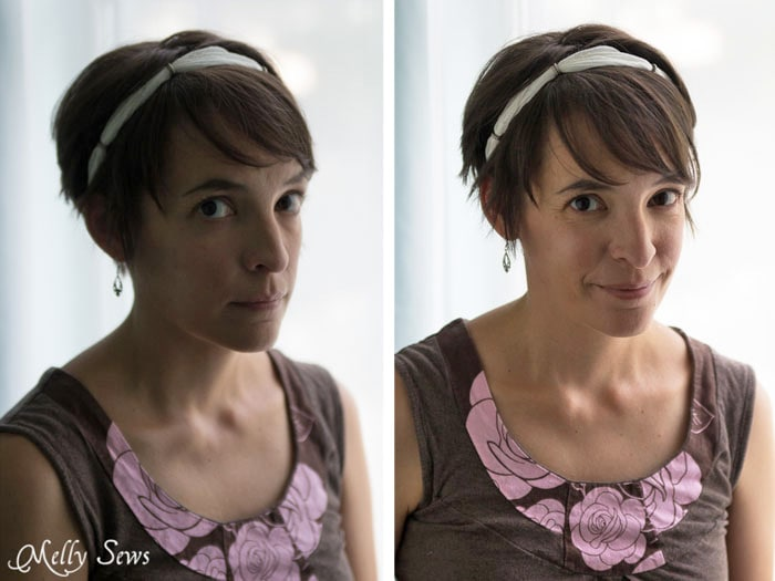 Before and after using a light reflector.