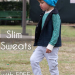 Sew an on trend pair of slim sweatpants for boys with this FREE sewing pattern from Melly Sews and Blank Slate Patterns