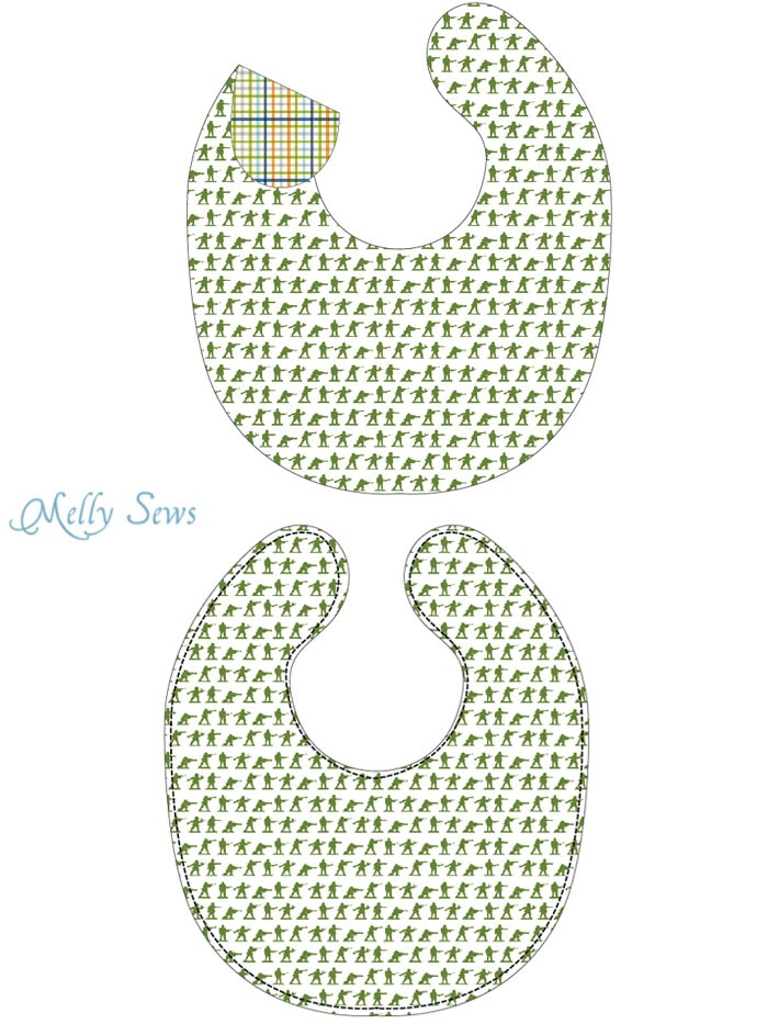 Step 1 - Sew a Bib with this free pattern and make it easy wipe - Written and Video tutorials - Melly Sews