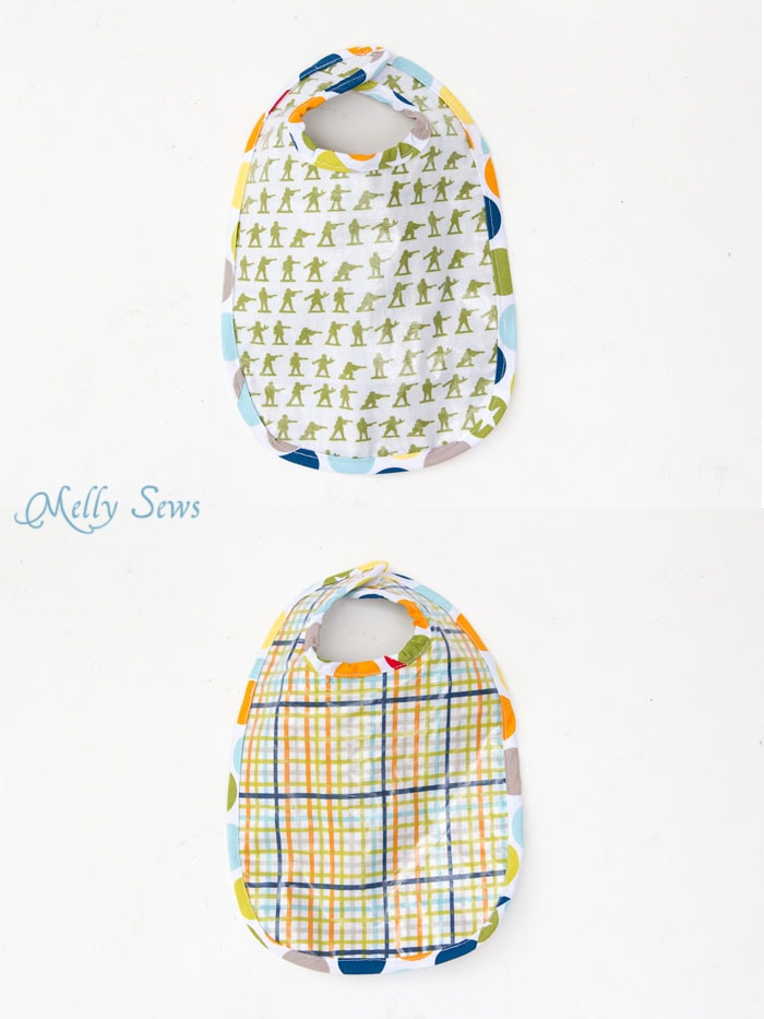 Laminated Bib - Sew a Bib with this free pattern and make it easy wipe - Written and Video tutorials - Melly Sews