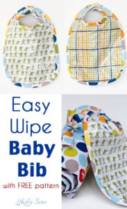 Sew a Bib with this free pattern and make it easy wipe - Written and Video tutorials - Melly Sews