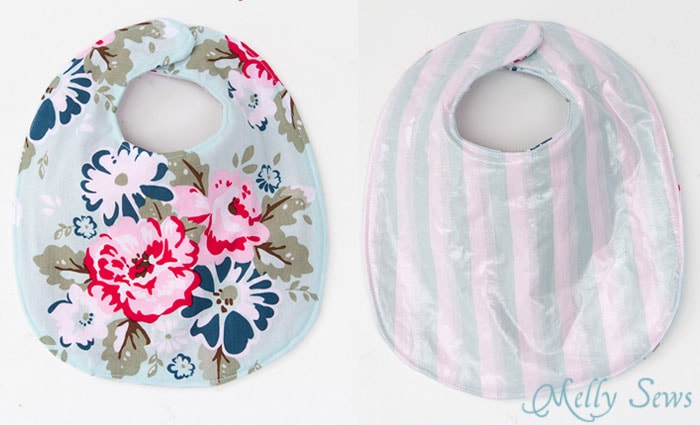 Front and back view - Sew a Drool Bib with a FREE baby bib pattern - Melly Sews