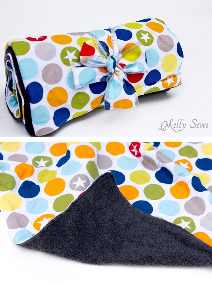 Fleece backed baby blanket - How To: Sew Baby Blanket - 2 EASY baby blanket sewing tutorials, perfect for baby gifts and baby shower gifts - Melly Sews