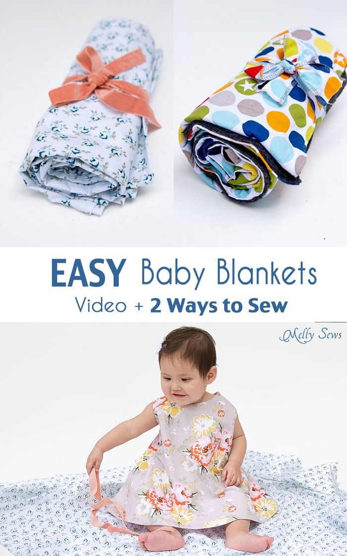 How To: Sew Baby Blanket - 2 EASY baby blanket sewing tutorials, perfect for baby gifts and baby shower gifts - Melly Sews