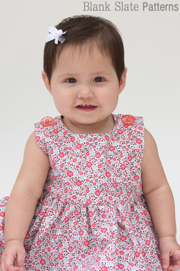 Super cute button shoulders - Sew a Baby Dress with a Free Pattern - Melly Sews