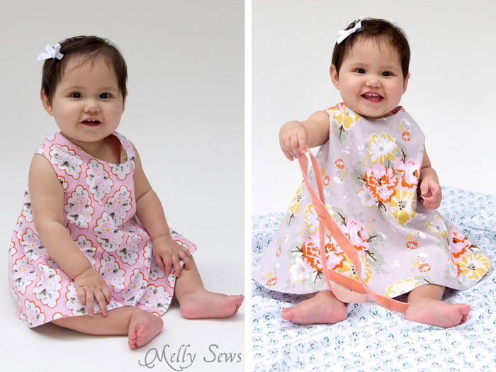 So cute! Criss Cross Pinafore Dress with Bloomers - FREE Sewing pattern sizes 0-3m - Melly Sews