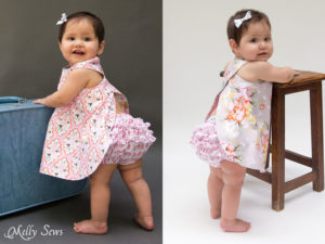 Reversible Baby Girls Dress - Criss Cross Pinafore Dress with Bloomers - FREE Sewing pattern sizes 0-3m - Melly Sews