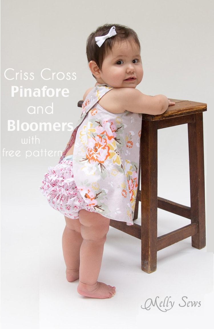 Free baby pinafore and bloomers pattern melly sews criss cross pinafore dress with bloomers free sewing pattern sizes 0 3m melly jeuxipadfo Image collections