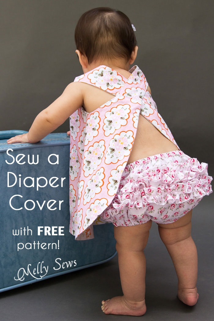Sew a diaper cover - make these ruffled bloomers with a free pattern, video and written instructions - Melly Sews
