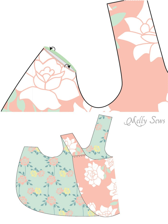 Step 2 - Criss Cross Pinafore Dress with Bloomers - FREE Sewing pattern sizes 0-3m - Melly Sews