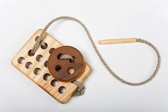 Wood lacing sewing toy