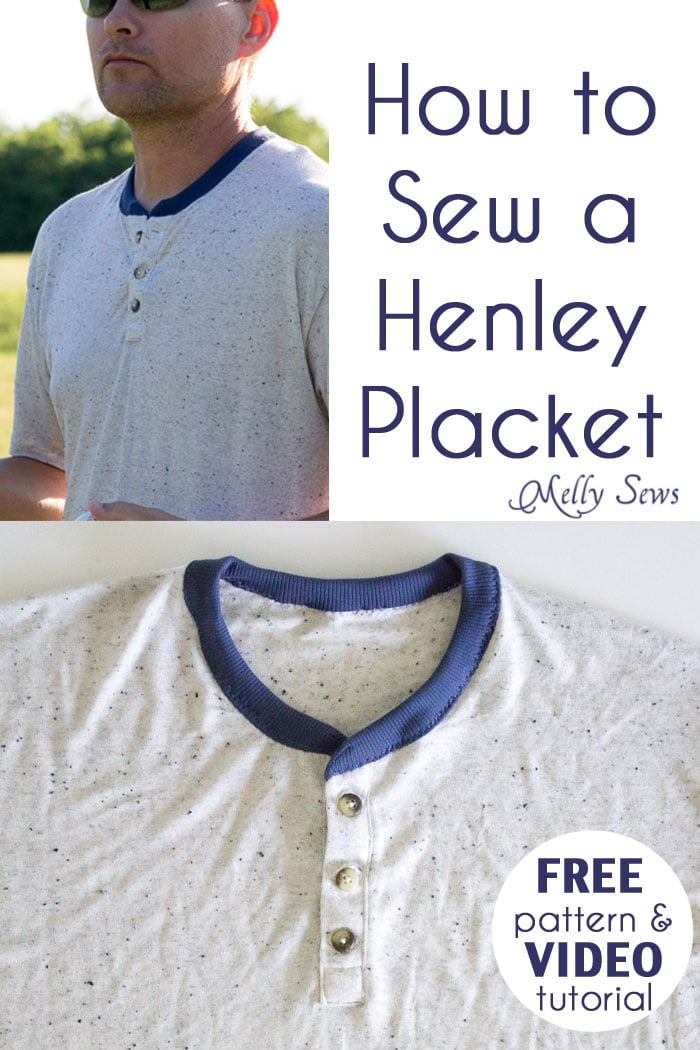How to sew - henley placket on a t-shirt - Melly Sews
