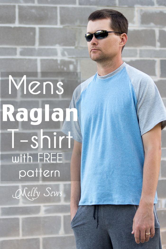 Mens Raglan T-shirt Pattern and Tutorial - Make a raglan tshirt with this free pattern - Melly Sews