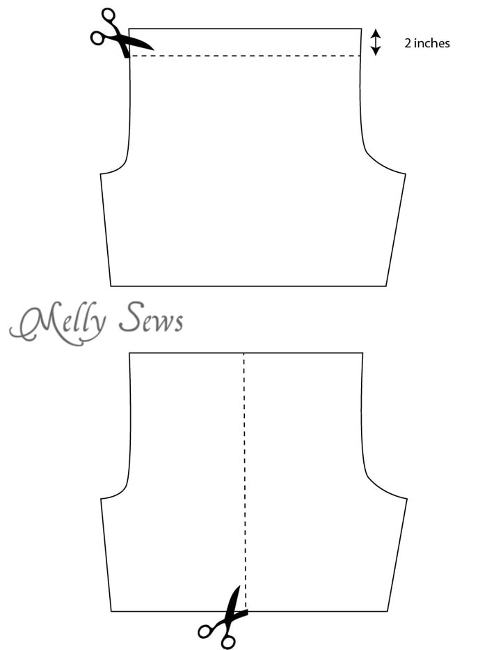 Modify pattern step 1 - Sew Mens Shorts Tutorial - with drawstring and pockets - Melly Sews