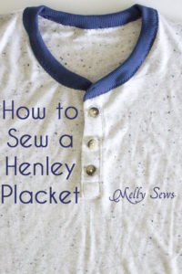 Add a button placket to a t-shirt pattern - How to sew - henley placket on a t-shirt - Melly Sews